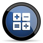 Calculator blue circle glossy web icon on white background, round button for  Stock Illustration