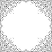 Calligraphic square frame decoration with empty place for your text. Vector i Stock Illustration