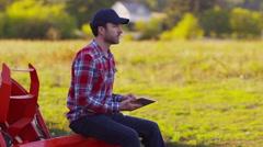 Farmer using digital tablet Stock Footage