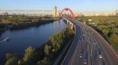 4k inside bridge sunset flying moscow Stock Footage
