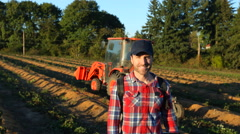Portrait of young farmer Stock Footage