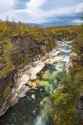 Autumn in Abisko canyon Abisko National Park Norrbotten Lapland Scandinavia - stock photo