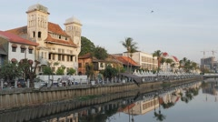 Stock Video Footage of Dutch Colonial building on Kali Besar canal,Jakarta,Java,Indonesia