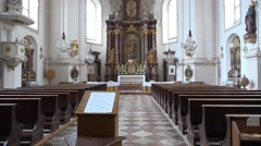 4k St. Sebastian church Salzburg Austria indoor tilt Stock Footage