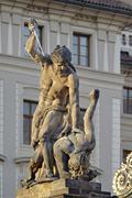 Sculpture main entrance Prague Castle Prague Czech Republic Europe - stock photo