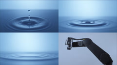 Camera follows single water drop. 4K 30fps. Slow Motion. - stock footage