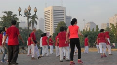 People do exercise dancing on Merdeka square,Jakarta,Java,Indonesia Stock Footage