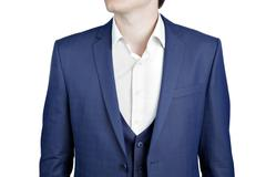 Close-up navy blue suit on prom night for men. - stock photo