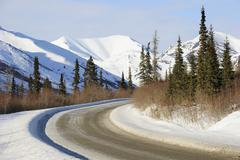 The Dalton Highway crosses the Brooks Range in the Arctic winter Dalton Highway Stock Photos