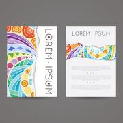 Set of vector design templates. Brochures in random colorful style. Vintage - stock illustration