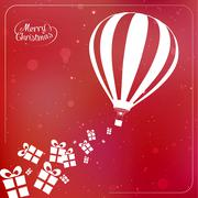Christmas background with present boxes, ribbons and hot air balloon spilling - stock illustration