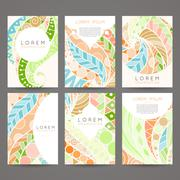 Stock Illustration of Set of vector design templates. Brochures in random colorful style. Vintage