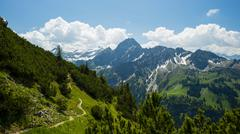 Panorama of the glide path over Oytal valley to Hofats Allgau Alps Allgau - stock photo