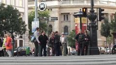 Budapest street crossing Stock Footage