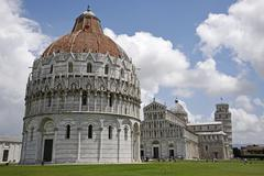 Baptistery cathedral of Santa Maria Assunta cathedral leaning tower bell tower Stock Photos
