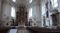 St. Sebastian church Salzburg Austria indoor panning Stock Footage