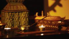 Spiritual altar, with oriental incense Stock Footage