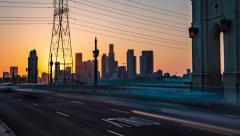 4th Street Bridge Los Angeles Sunset Timelapse - stock footage