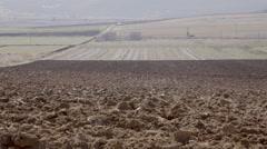 4K big freshly plough field,countryside Stock Footage
