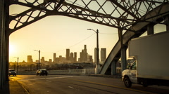 6th Street Bridge Downtown Los Angeles Sunset Timelapse Stock Footage
