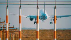 The plane is landing on the runway airport Domodedovo, Moscow Region Stock Footage