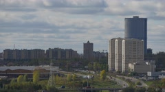 Floating clouds in the urban landscape, time lapse in Kazan - stock footage