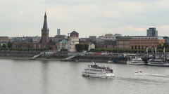 Tour boat - Dusseldorf altstatt at Rhine river Stock Footage