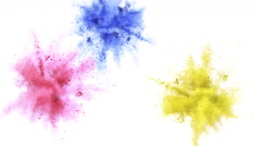 Colorful powder/particles exploded. Slow Motion. Unedited versio included. - stock footage