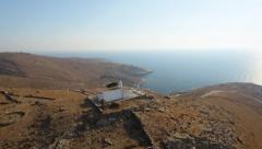 Aerial footage from Cyclades summer island. The perfect small wedding location Stock Footage