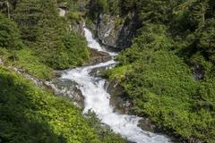 Umbalfall waterfall Umbaltal Tauern National Park Hinterbichl Virgental East - stock photo