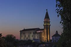 Stock Photo of Evening mood Cathedral of St George Piran Istria Slovenian Littoral Slovenia