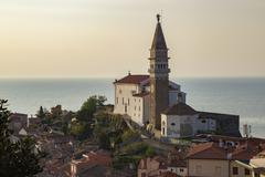 Cathedral of St George Piran Istria Slovenian Littoral Slovenia Europe - stock photo