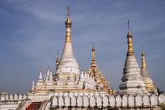 Stupas of the Maha Aung Mye Bonzan monastery Inwa Mandalay region Myanmar Asia - stock photo