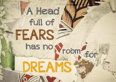 A Head Full Of Fears Has No Room For Dreams - stock illustration