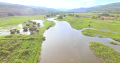 Aerial view of Colorado river at scenic view near I70. Stock Footage