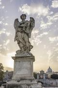 Statue angel sculpture on the Ponte Sant39Angelo Rome Lazio Italy Europe Kuvituskuvat