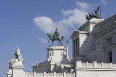 Equestrian statue in front of Vittorio Emanuelle II Monument Rome Lazio Italy Stock Photos