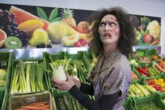 Zombie buying vegetables scene from zombie comedy short film Brain Freeze Kuvituskuvat