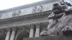 Establishing shot of the New York public library. Stock Footage