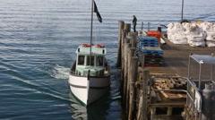 Fishing boats pulling up to Halfmoon Bay on Stewart Island, New Zealand Stock Footage