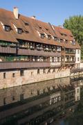 Stock Photo of Housing along the Pegnitz river in Maxbruecke Lorenzer Altstadt Nuremberg