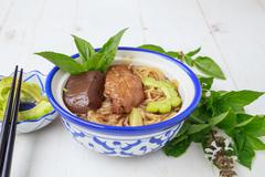 Noodle soup with chicken asia food Stock Photos