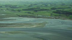 Aerial footage of coastline and river mouth The Catlins, New Zealand Stock Footage
