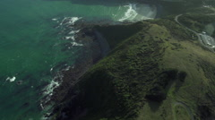 Aerial footage of rugged coastline near The Catlins, New Zealand Stock Footage