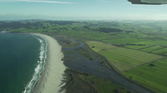 Aerial footage of a sandy beach near The Catlins, New Zealand Stock Footage