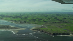 Aerial footage of the coastline near The Catlins, New Zealand Stock Footage