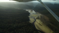 Aerial footage of the Clutha River in New Zealand Stock Footage