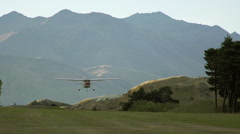 Footage of plane landing in Wanaka, New Zealand Stock Footage