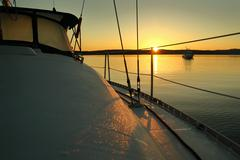 Sailboat Sunrise - stock photo