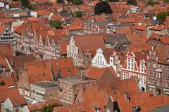 Gabled houses of the historic centre Hanseatic city of Luneburg Lower Saxony - stock photo